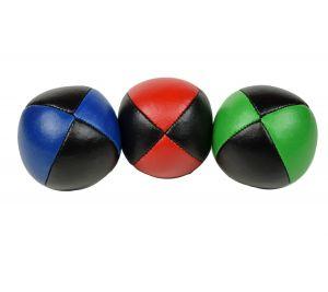 Basic set van 3 jongleerballen   100 gram   62 mm   rood/zwart - blauw/zwart - groen/zwart