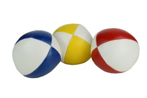 Basic set van 3 jongleerballen   100 gram   62 mm   rood/wit - blauw/wit - geel/wit